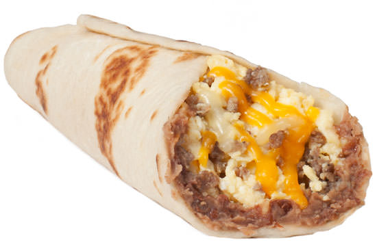 Sausage and Egg Taco with Bean and Cheese