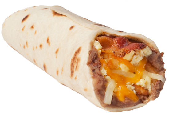 Potato, Egg, Bean, Cheese and Bacon (Q-taco with Bacon)