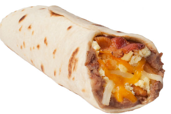 Bacon and Egg Taco with Bean and Cheese