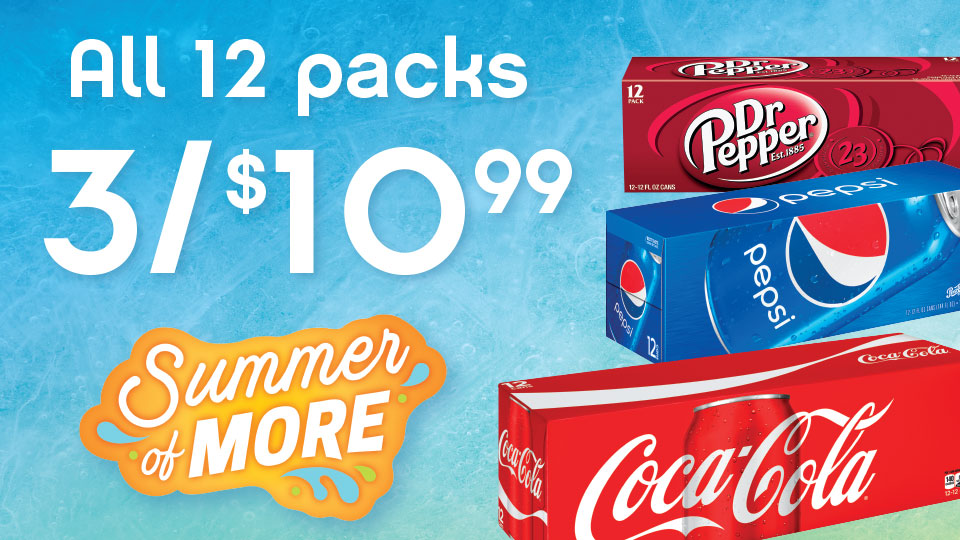 Stock up! All 12 Pack Colas, only 3 for $10.99