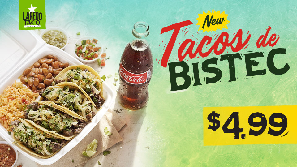 Bistec Taco Plate with Coke $4.99