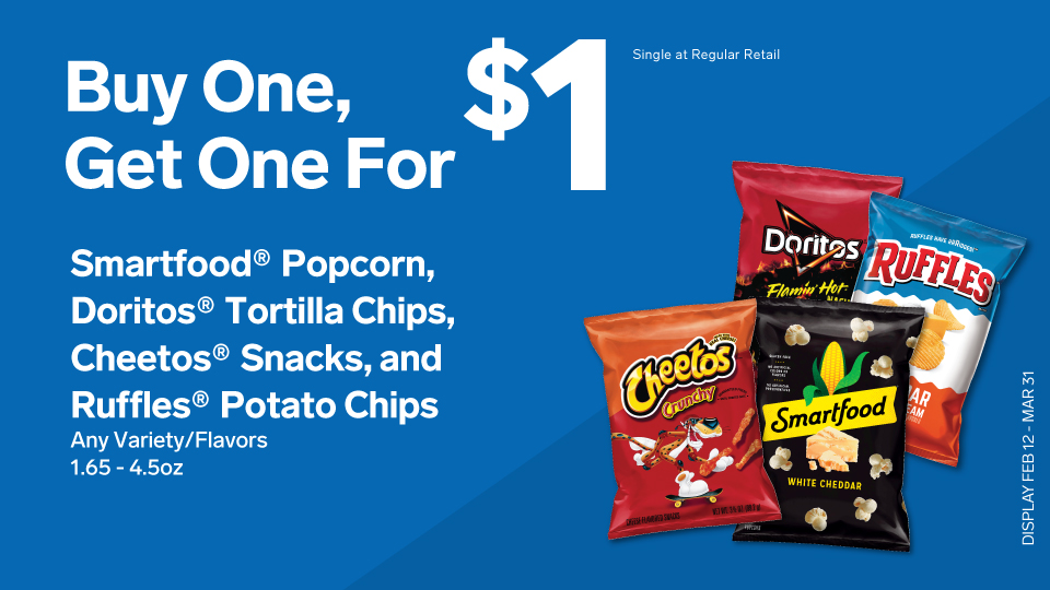 BOGO $1 Smartfood, Doritos, Cheetos and Ruffles Image