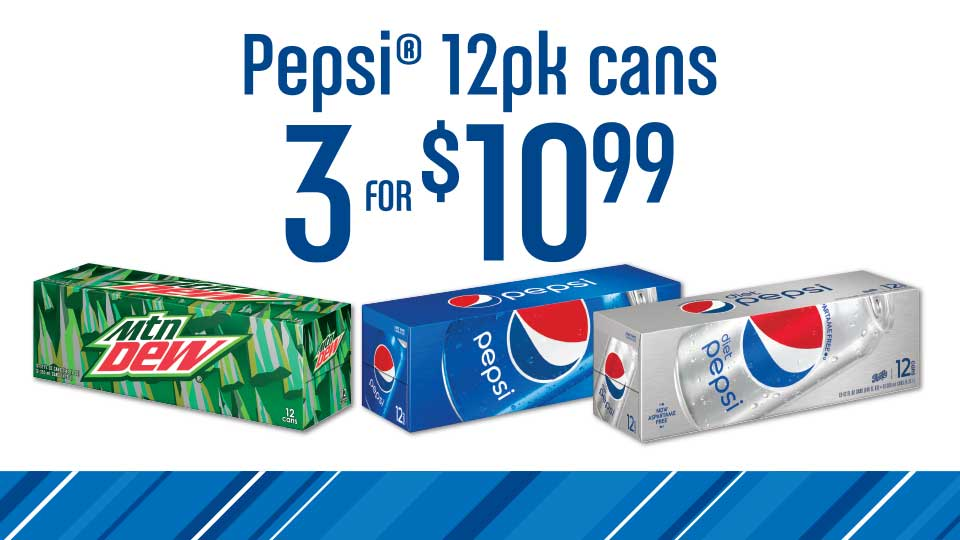 3 12 Packs Pepsi Products for $10.99