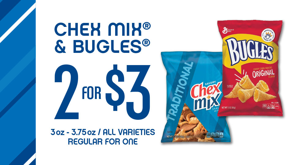 Chex Mix 2 for $3 at Stripes
